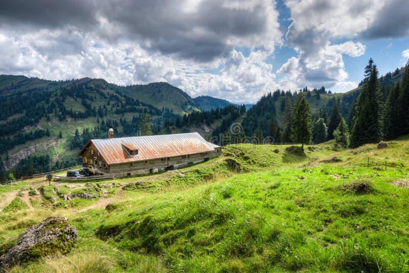 Oude alpiene hut met weide in de Alpen Beieren, Allgau, Duitsland Traditionele landbouw in de bergen royalty-vrije stock fotografie