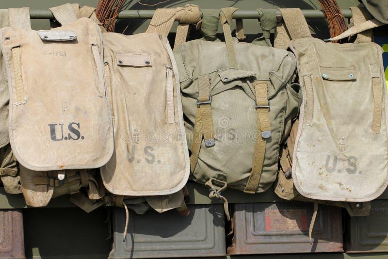 Oude Amerikaanse legerzakken royalty-vrije stock foto's