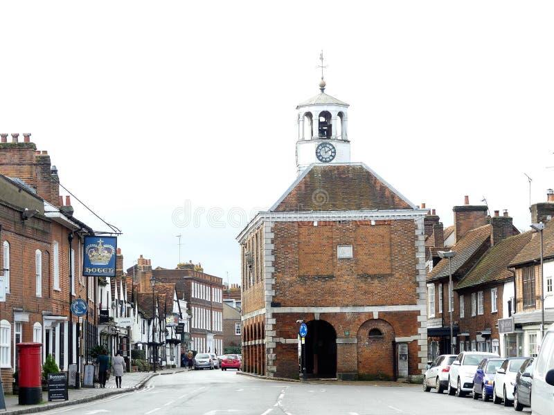 Oude Amersham-Marktzaal die van de 17de eeuw in Amersham, Buckinghamshire dateren royalty-vrije stock afbeeldingen
