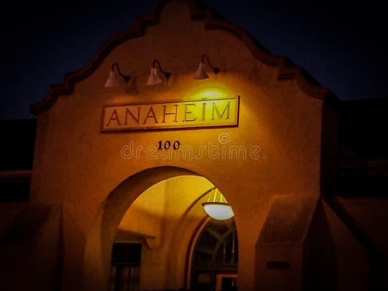 Oude Anaheim Santa Fe Railroad Station stock fotografie