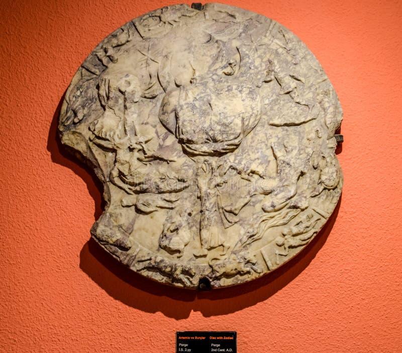 Oude Antieke Dierenriemschijf, Sterrenbeelden royalty-vrije stock foto