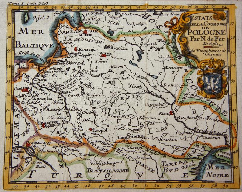 Antieke kaart van Polen royalty-vrije stock foto