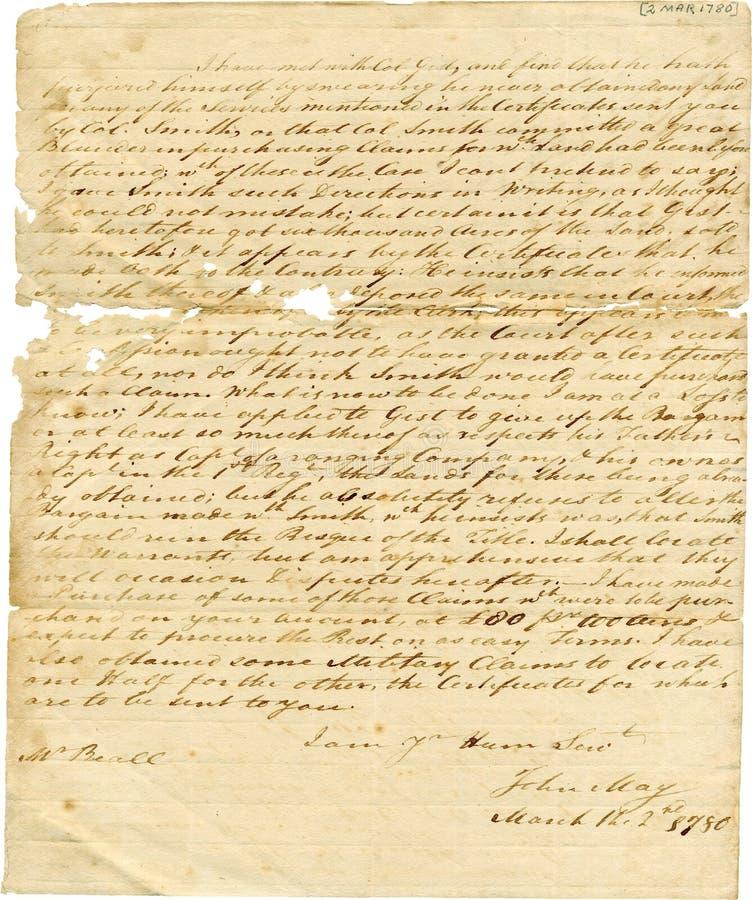 Oude Antieke Met de hand geschreven Brief, Verzwakte Randen stock fotografie