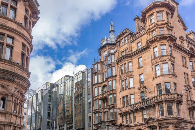 Oude Architectuur & Nieuw Glasgow City Centre stock fotografie