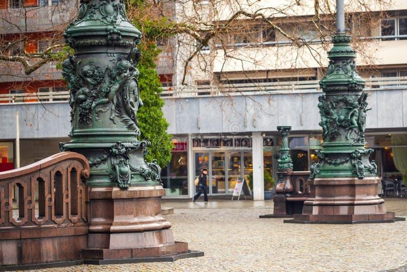 Oude architectuur van de middeleeuwse stad van Dresden, Duits Saksen, royalty-vrije stock fotografie