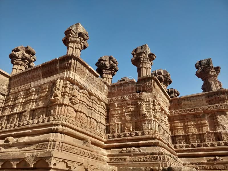 Oude Architectuurpijler in Bhuj, Gujarat stock afbeelding