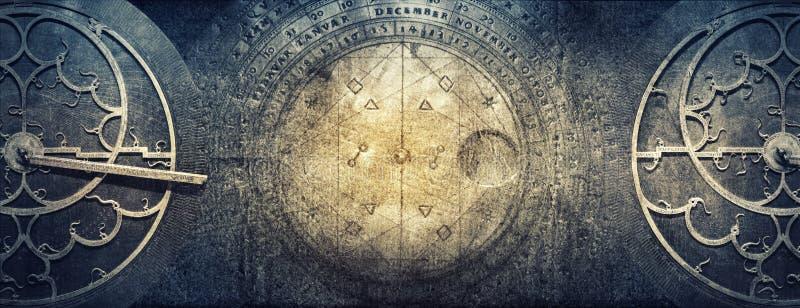 Oude astronomische instrumenten op uitstekende document achtergrond Ab royalty-vrije stock foto