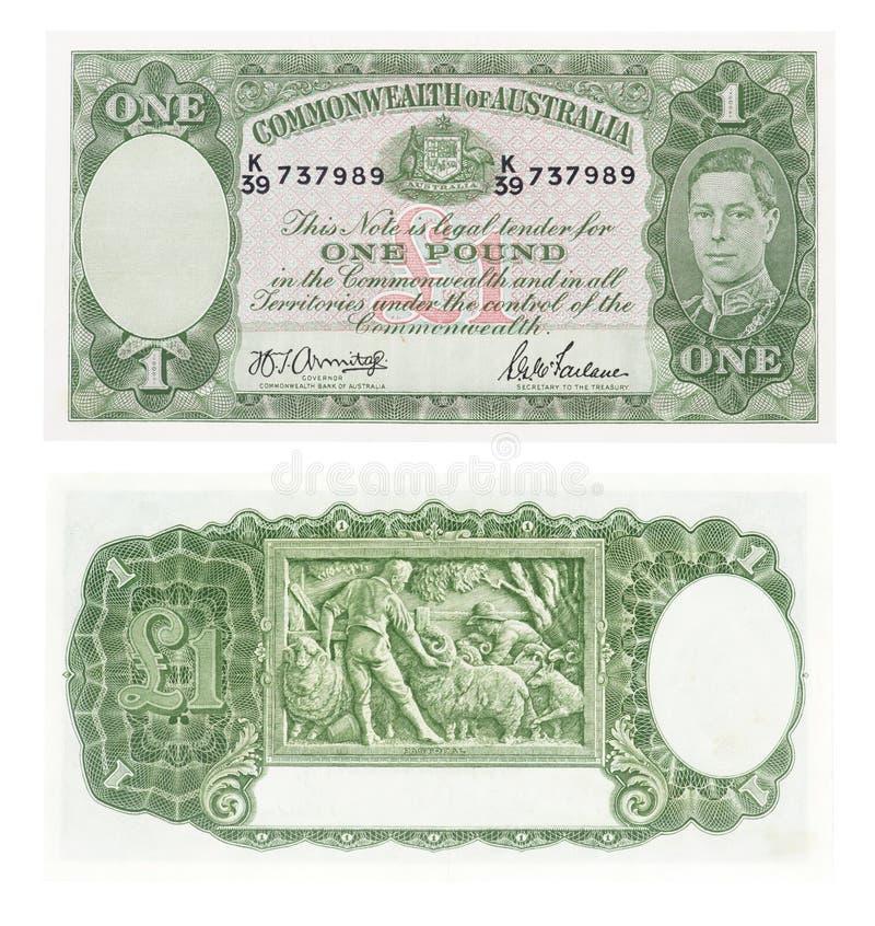 Oude Australische pondnota stock afbeelding
