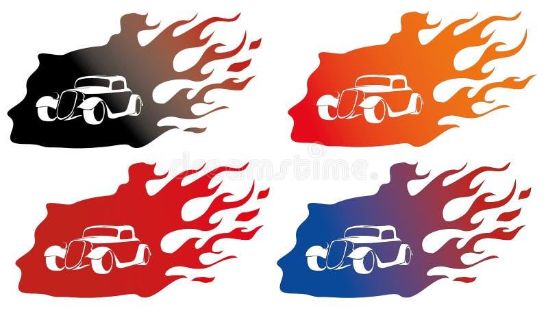 Oude auto op brandembleem royalty-vrije stock afbeelding