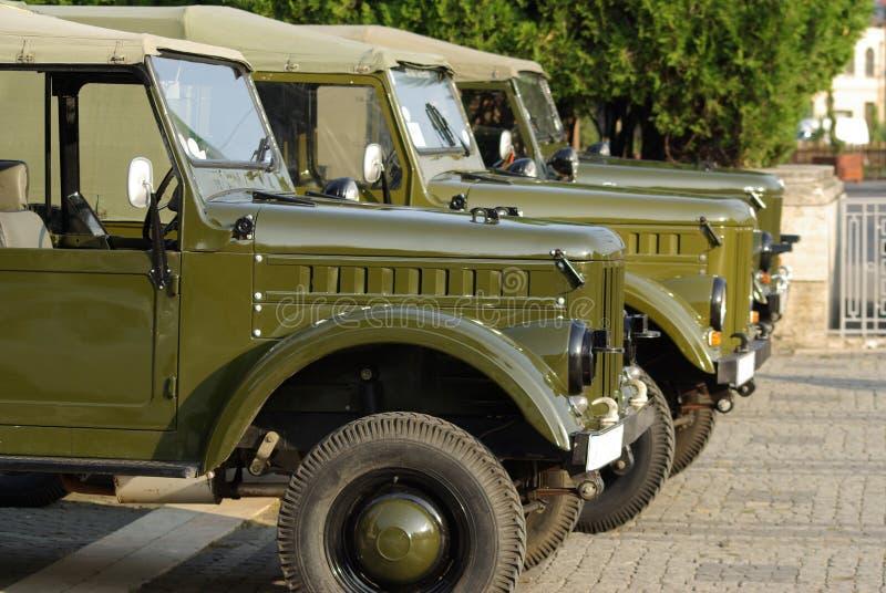 Oude Auto's, de Russische Vrachtwagens van het Leger stock foto