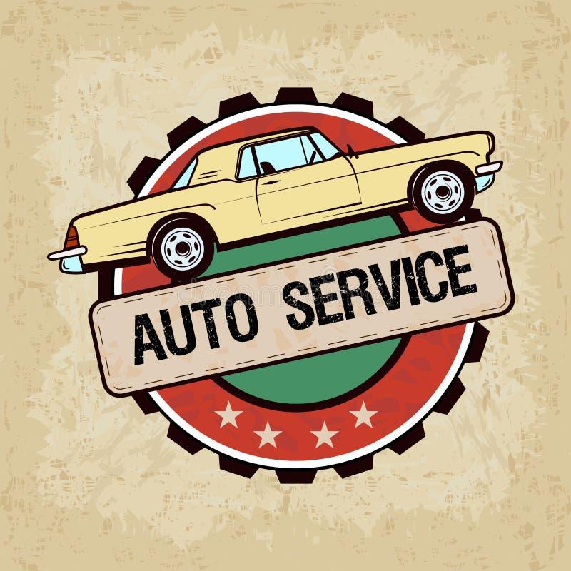 Oude auto in uitstekende stijl - vectorillustratie Auto de dienstetiket stock illustratie