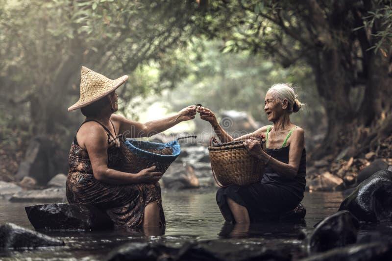 Oude Aziatische vrouw die in cascade werken royalty-vrije stock afbeeldingen