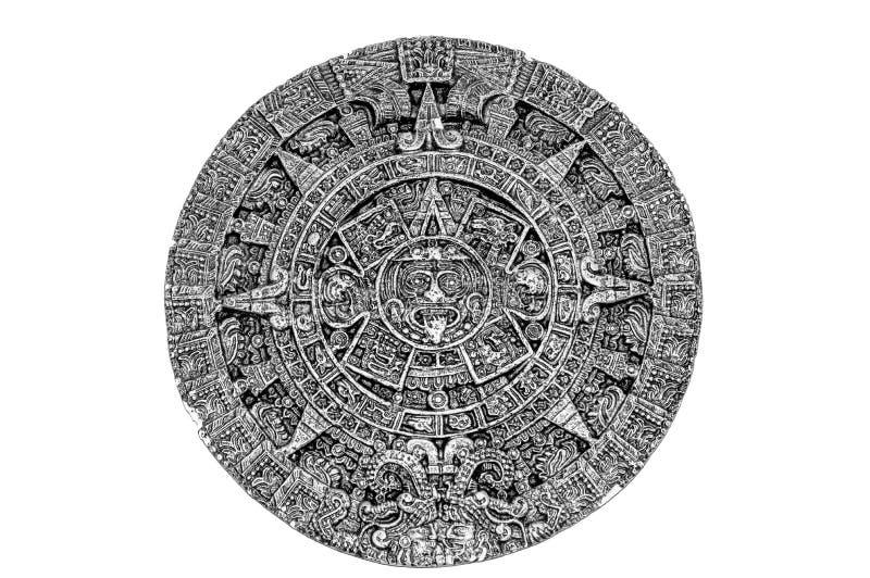 Oude Azteekse Kalender die eens door inheemse Noord-Amerikanen werd gebruikt zwart-wit royalty-vrije stock fotografie