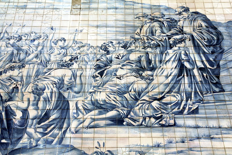 Oude Azulejo in de stad van Porto, Portugal. stock foto's