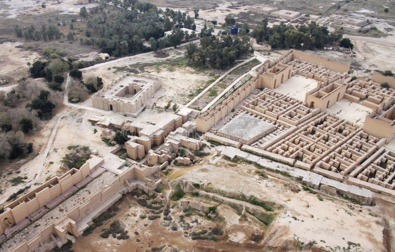 Oude Babylon in Irak van lucht stock foto