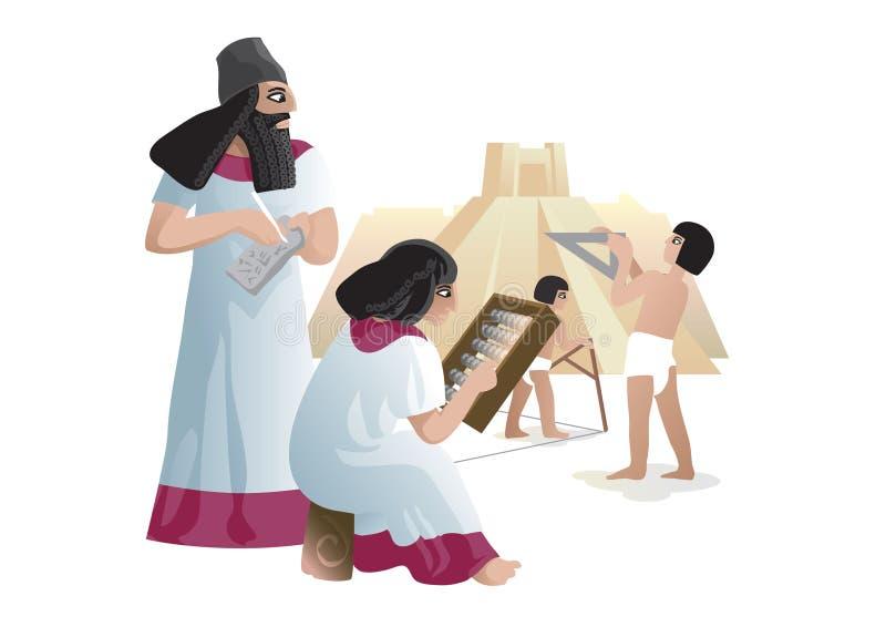 Oude Babylonian-bouwers royalty-vrije illustratie