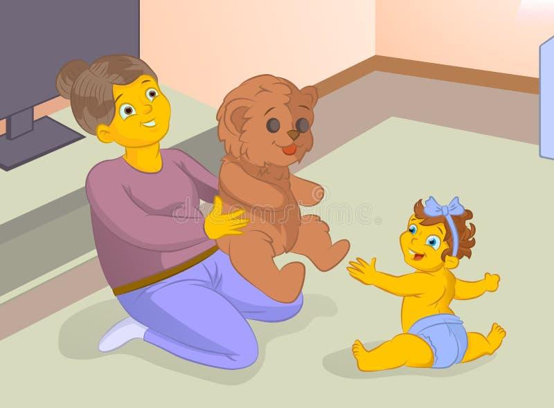Oude babysitter playng een spel met baby stock illustratie