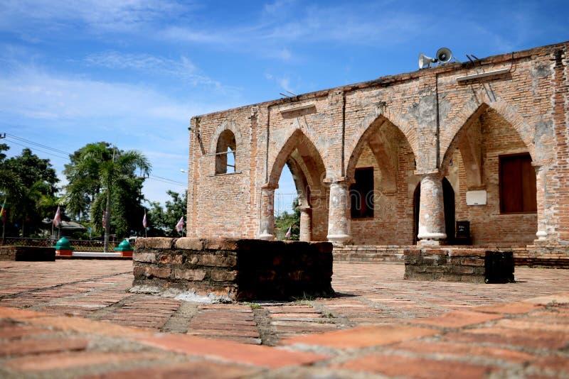 Oude baksteen bij Kerisik-moskee, masjisd in Pattani royalty-vrije stock afbeelding