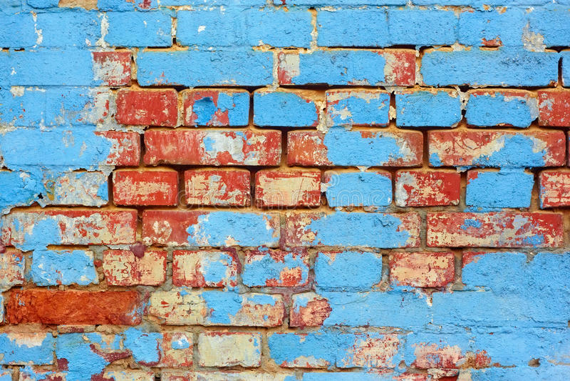 Oude baksteen geschilderde muur stock fotografie