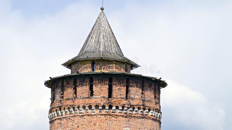 Oude baksteenwatchtower royalty-vrije stock foto