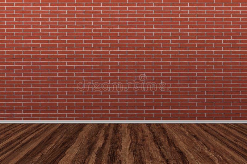 Oude bakstenen muur met oude houten vloer Oude ruimteachtergrond stock illustratie