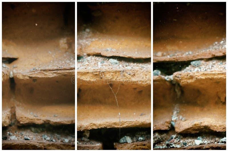 Oude bakstenen muur, steenachtergrond of rotsoppervlakte - goed voor website of mobiele apparaten royalty-vrije stock afbeeldingen