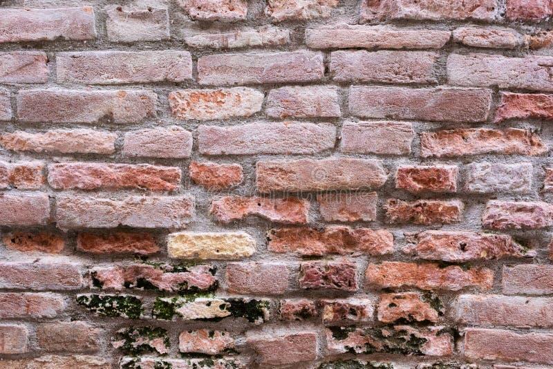 Oude bakstenen muur van huis in Venetië, Italië Ondiepe DOF stock afbeelding