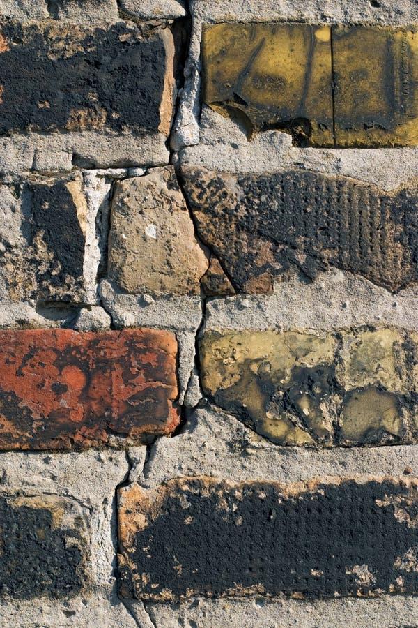 Oude bakstenen muurclose-up royalty-vrije stock afbeelding