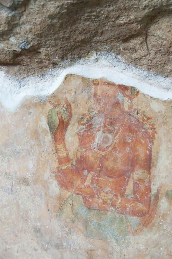 Oude beroemde muurfresko's in Sigirya, Sri Lanka royalty-vrije stock foto's