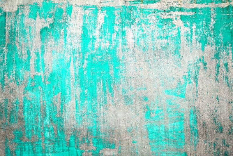 Oude Beschadigde Gebarsten Verfmuur, Grunge-Achtergrond, turkooise kleur stock foto's