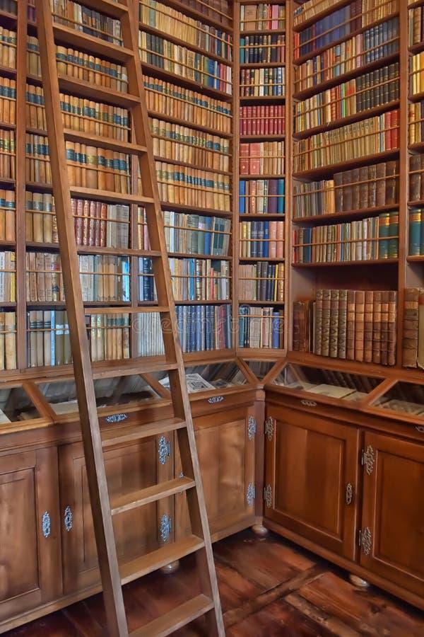 Oude bibliotheek in het kasteel stock fotografie