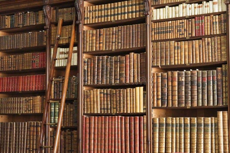 Oude bibliotheek met ladder stock afbeeldingen
