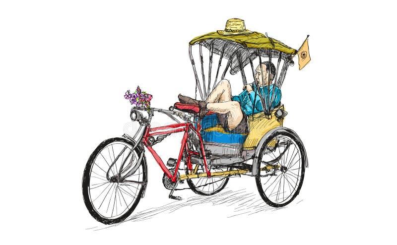 Oude bick en de fietsmens met drie wielen liggen en slapend, schets royalty-vrije illustratie