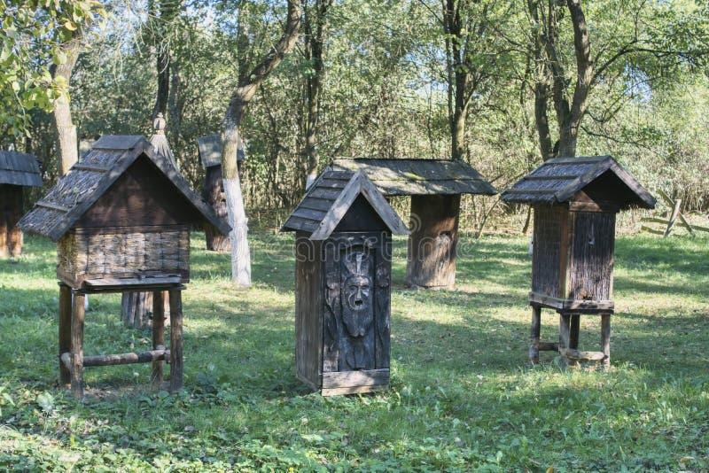 Oude bijenkorven in een oude boomgaard met grote bomen royalty-vrije stock foto