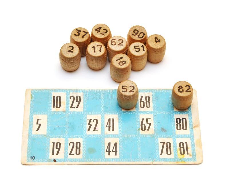 Oude bingokaarten en aantallen royalty-vrije stock foto's