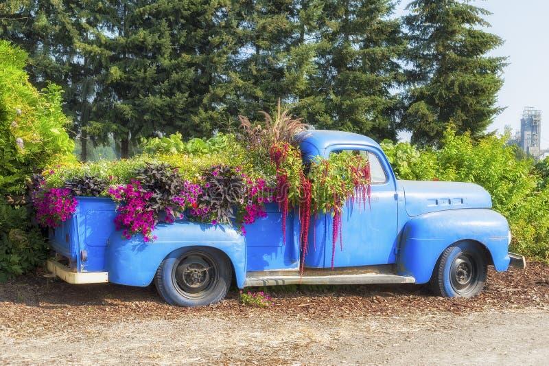Oude blauwe die bestelwagen als planter voor bloemen wordt gebruikt royalty-vrije stock afbeeldingen