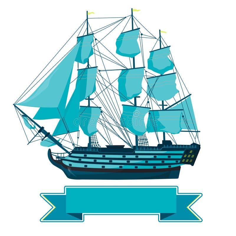 Oude blauwe houten historische boot op wit Varende boot met zeilen, mast, bruin dek, kanonnen royalty-vrije illustratie