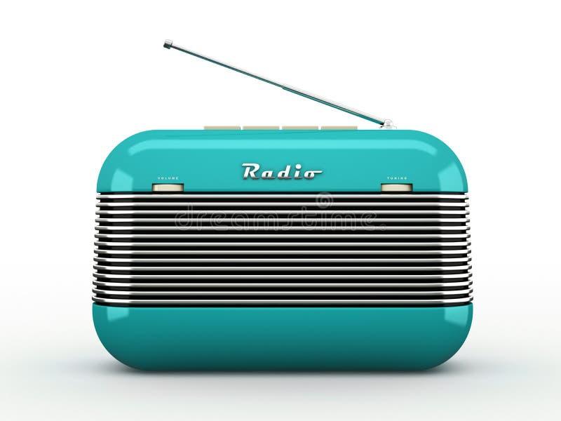 Oude blauwe uitstekende retro stijl radioontvanger op witte bedelaars royalty-vrije illustratie