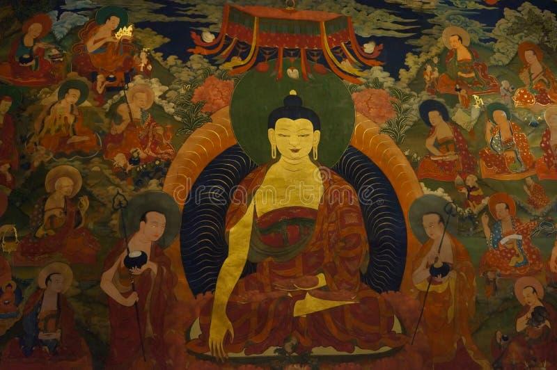 Oude boeddhistische fresko bij de muur van tibetan klooster, Hemis stock afbeeldingen