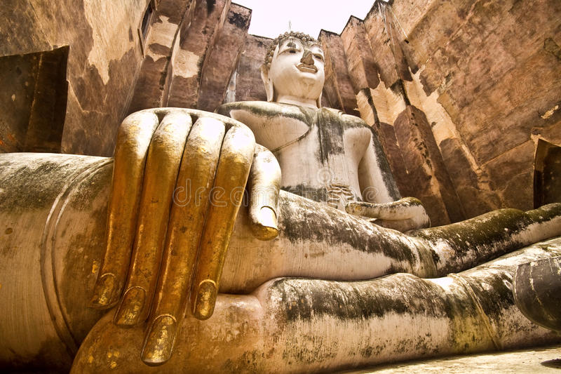 Oude Boedha in sukhothai Thailand stock foto
