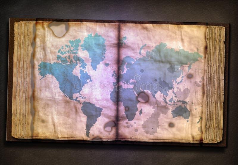 Oude Boekdeel en Wereldkaart royalty-vrije illustratie