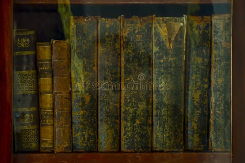 Oude boeken op plank in de bibliotheek stock foto's