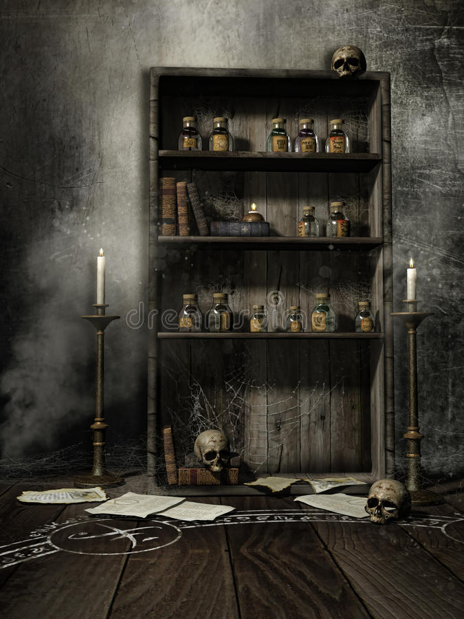 Oude boekenkast met wondermiddelen stock illustratie