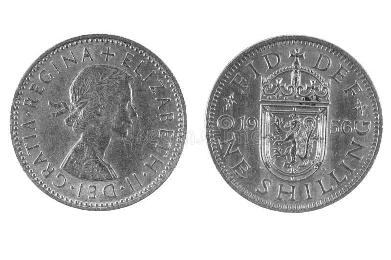 Oude Britse Shilling royalty-vrije stock afbeeldingen