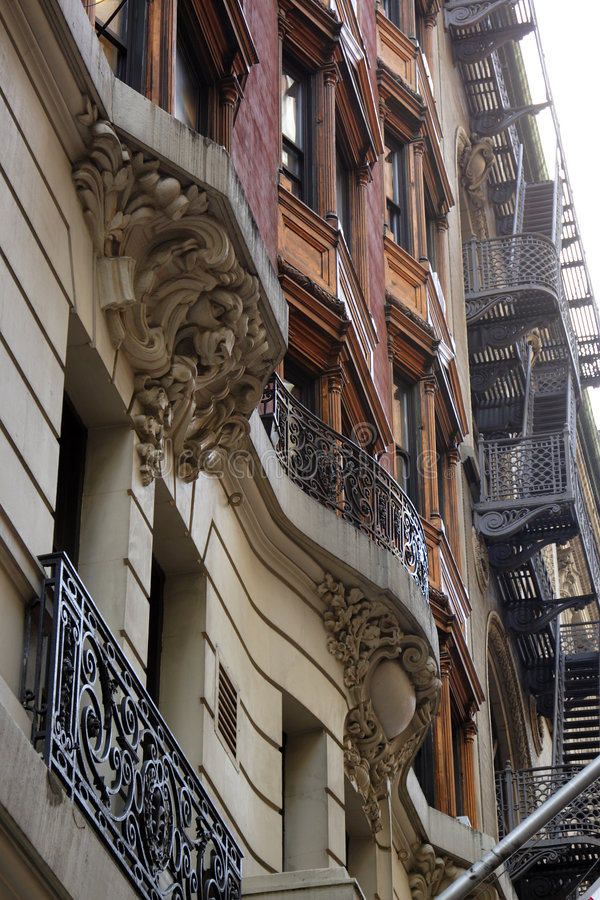 Oude brownstones New York royalty-vrije stock foto