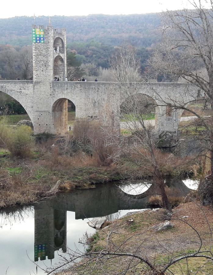 Oude brug royalty-vrije stock afbeelding