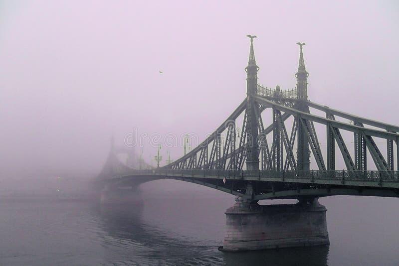 oude brug in de mist Mystieke Visie stock afbeeldingen