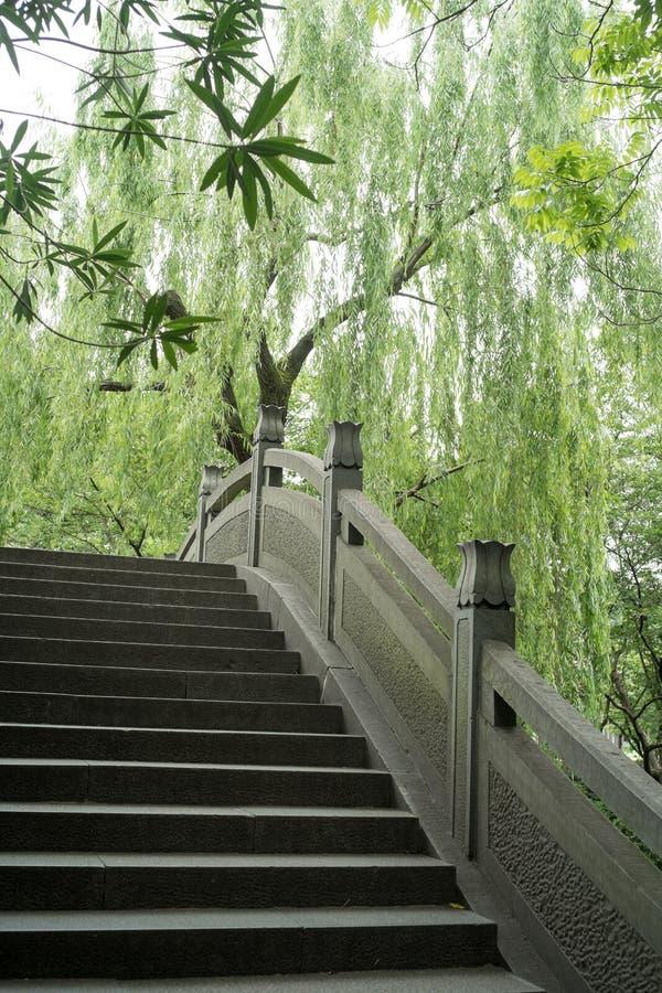 Oude brug in het Westenmeer, Hangzhou, China stock afbeelding