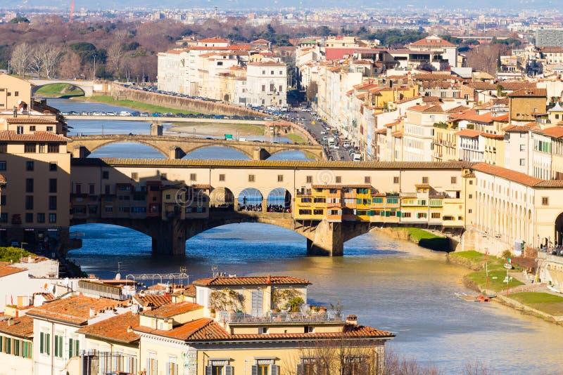 Oude Brugmening, Florence, Itali? royalty-vrije stock afbeelding