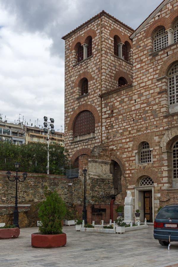 Oude Byzantijnse Kerk van Heilige Demetrius in het centrum van stad van Thessaloniki, Cen stock afbeeldingen